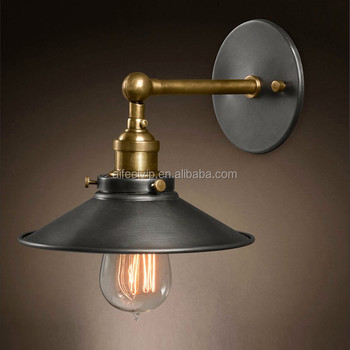 High quality industrial vintage iron lamp shade classic antique decorative wall lamp