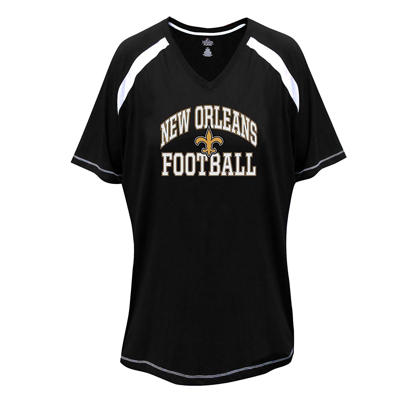 4478d92a44d9 Get Quotations · NFL New Orleans Saints Short Sleeve Raglan Tee, 1X, Black/ White