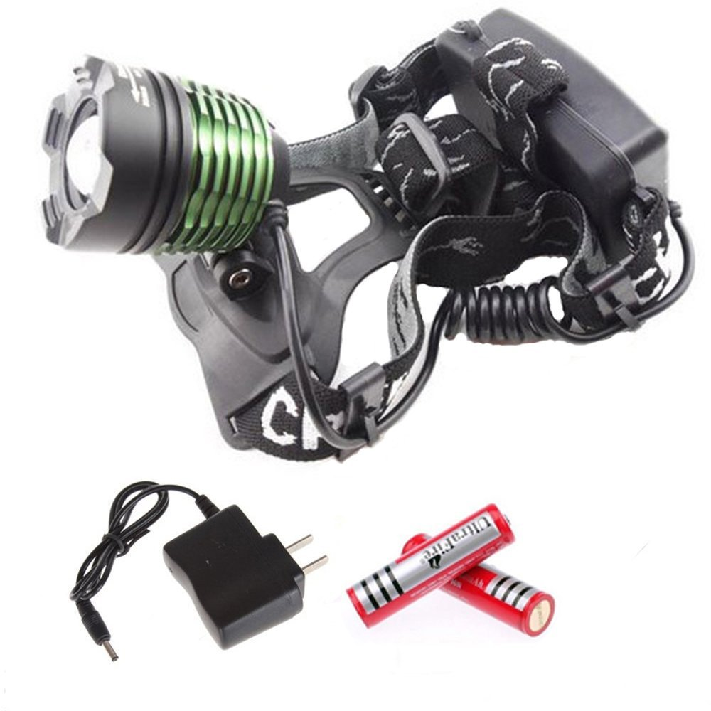 Skycoolwin 1600LM CREE XM-L T6 LED Zoom Headlamp Adjustable Green Lamp + 2 x 18650 3000mAh Battery + Power Adapter