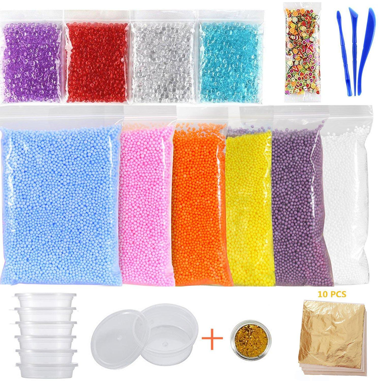 15 Pack Slime Making Kits Supplies, Fishbowl Beads, Foam Balls, Slime Storage Containers, Imitation Gold Leaf Foil Paper, Glitter Shake Jars, Fruit Slices, DIY Art Craft for Homemade Slime