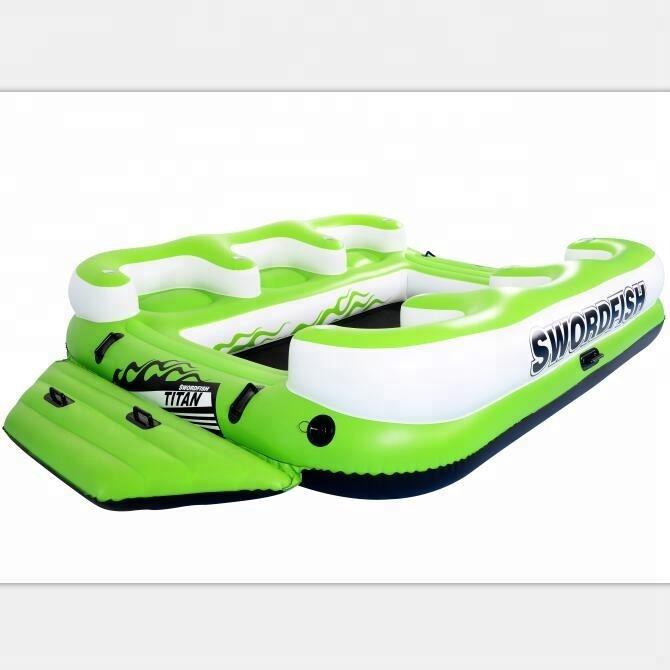 Barco inflável em pvc de 6 pessoas, barco de surf em ilha e tubo inflável, espreguiçadeira de esqui aquático