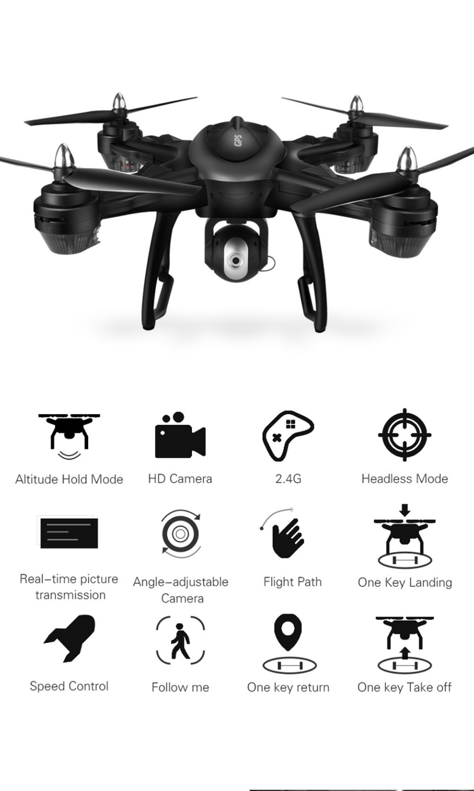 2019 Trending Products LH-X38G Dual GPS FPV Quadcopter Drone With 1080p Camera Wide Angle Helicopter Brush Motor professional