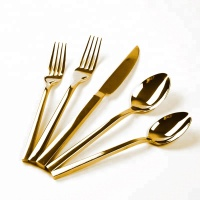 FDA Certificate stainless steel Square Handle wedding cutlery Cutleries 18/10 gold plated utensil silverware golden flatware set