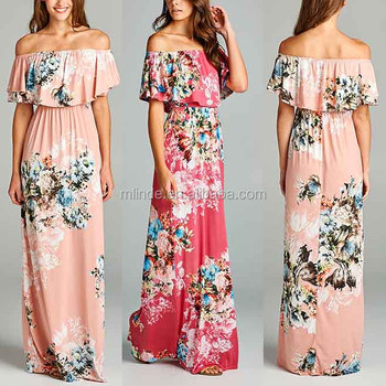 beach clothing Women 95% polyester / 5% spandex Pink Floral Ruffle Off-Shoulder Maxi summer dress ladies