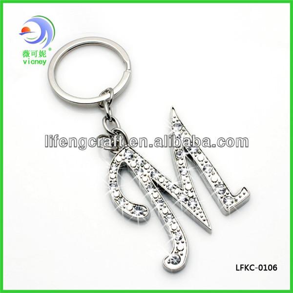 Hot Sale Bling Bling Alphabet Initial Letter M Charming Keychain ...