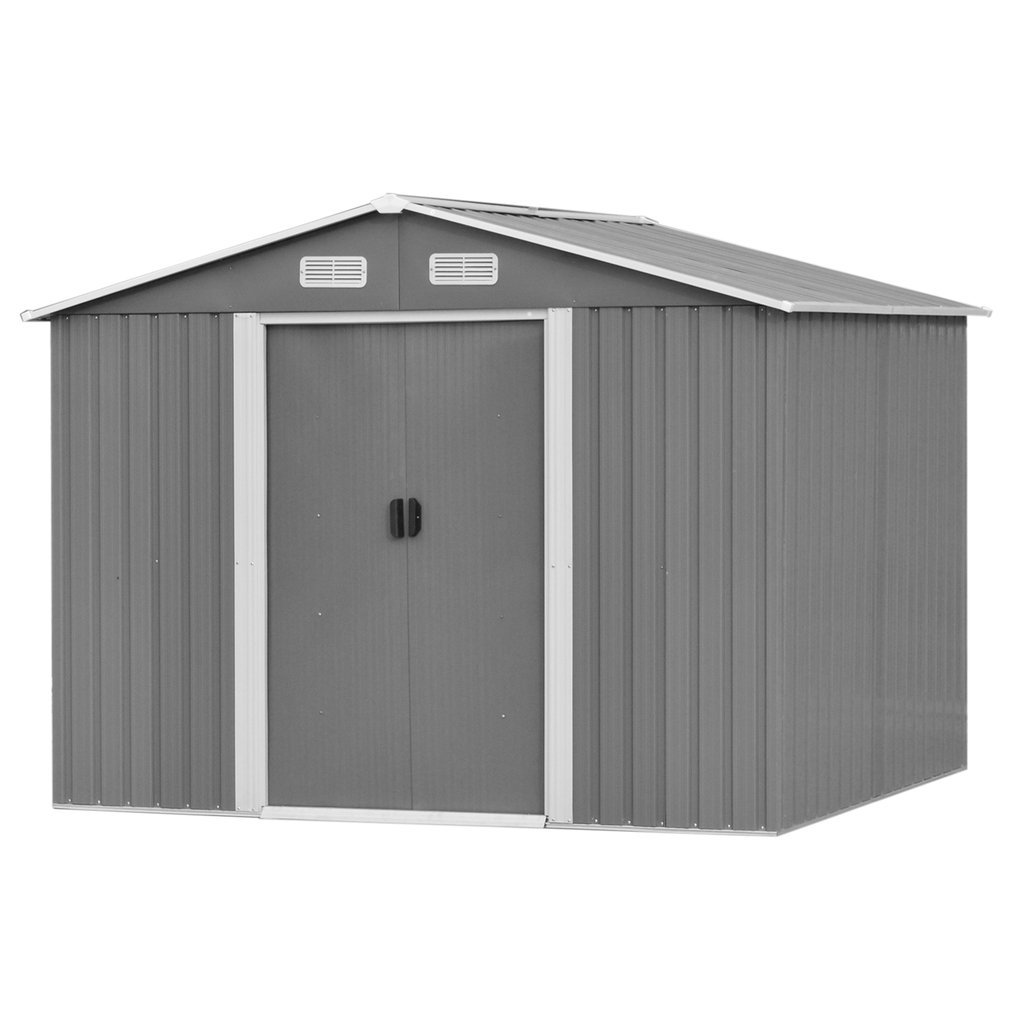 Blackpoolfa XX-Large Garden Storage Shed | Heavy Duty Galvanized Steel Outdoor Backyard Lawn Tool House Shed with Sloped Roof & Sliding Door (Black-Grey, 8.5 x 6.5 ft.)