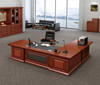 Modern Luxury Wood L Shaped Ceo Boss Maneger Executive Office Desk With Side  Table