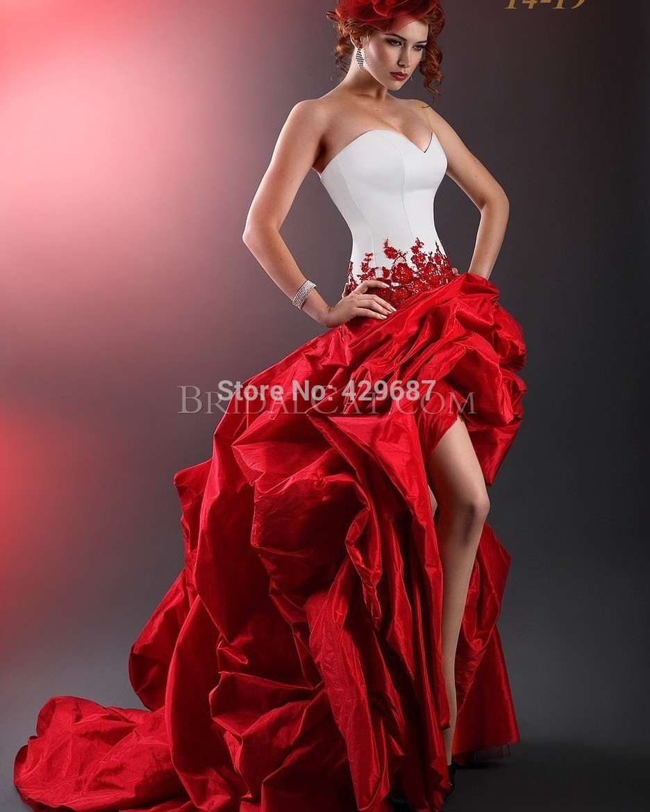 Vintage 2016 Wedding Dresses Strapless A Line High Low