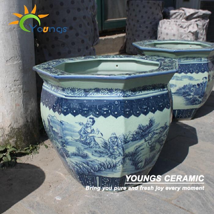 Antiguo chino grande azul blanco de cer mica macetas for Jardineras de ceramica