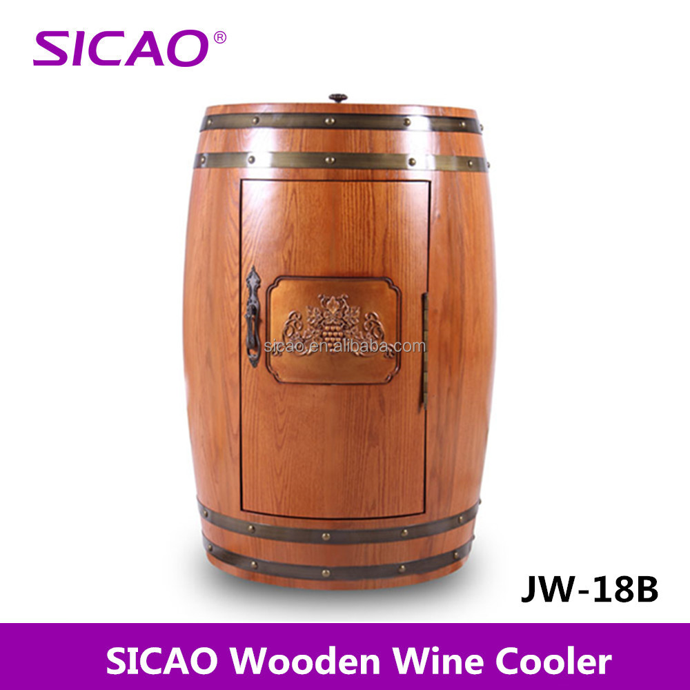 Thermoelectric Wooden Wine Barrel Fridge LED Wine Gift, Electric Barrel Cooler