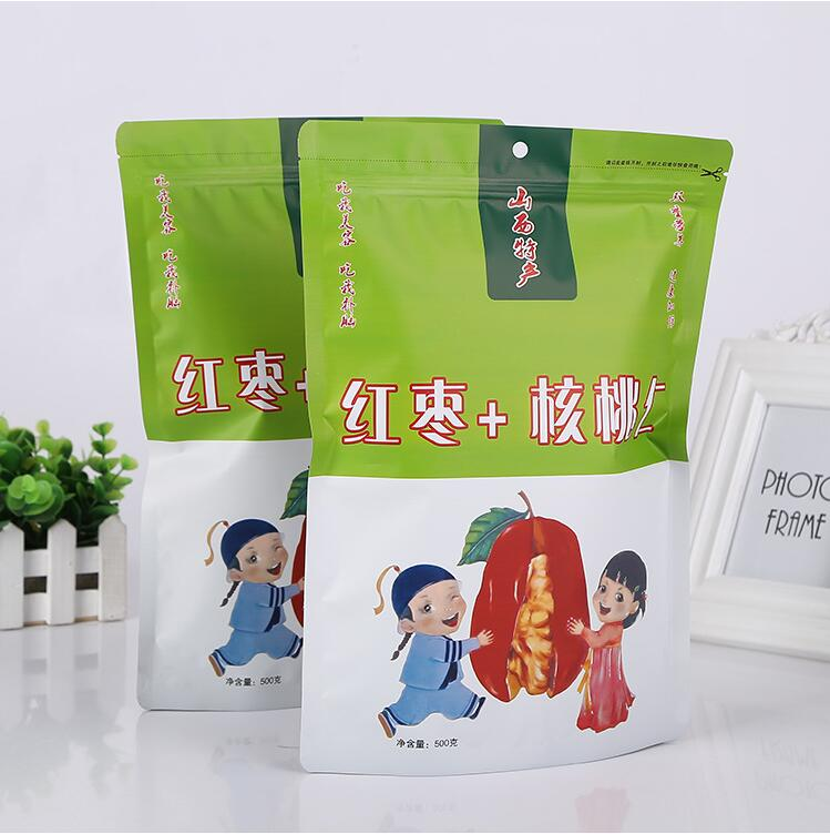 custom printed resealable clear mylar ziplock bag plastic stand up pouch for food packaging bag with hang hole