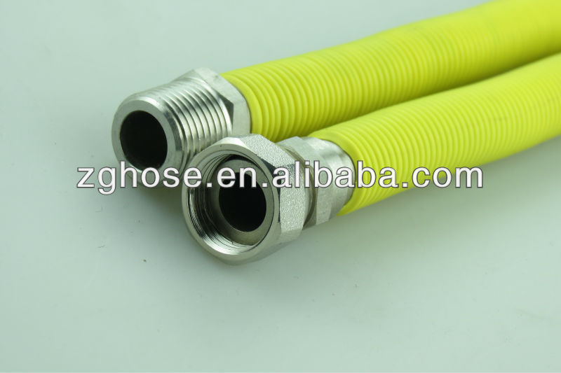 flexible gas hose with yellow cover for gas cooker