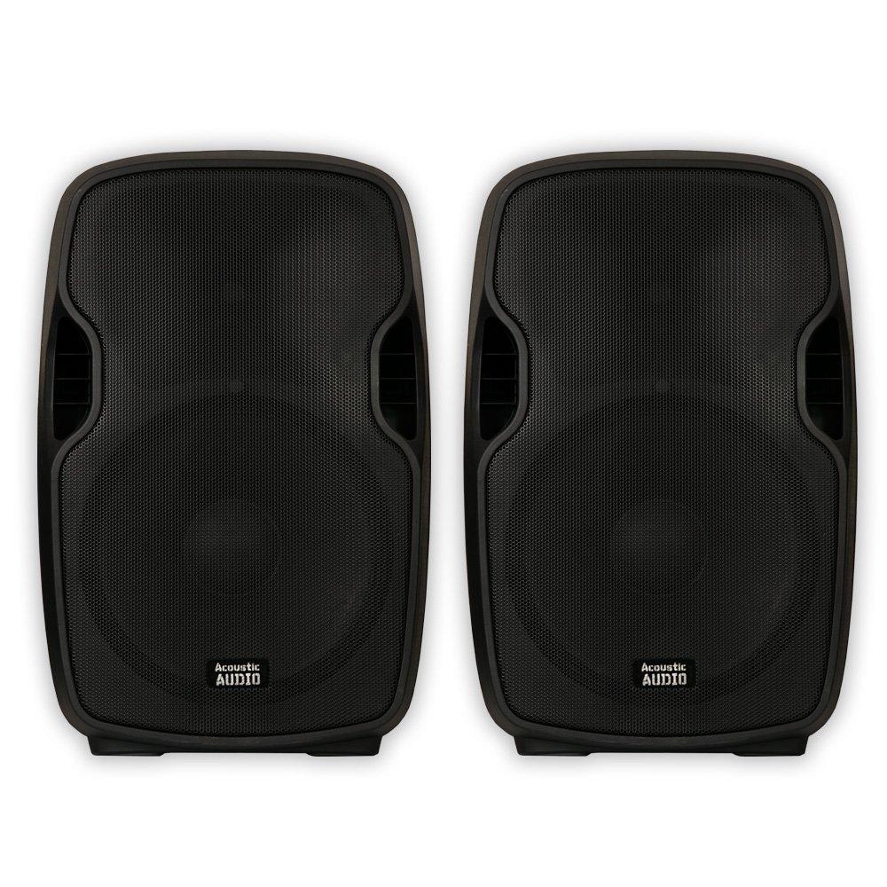 "Acoustic Audio AA15U Powered 15"" Speaker Pair 2000 Watts 2 Way USB MP3 Players AA15U-PR"