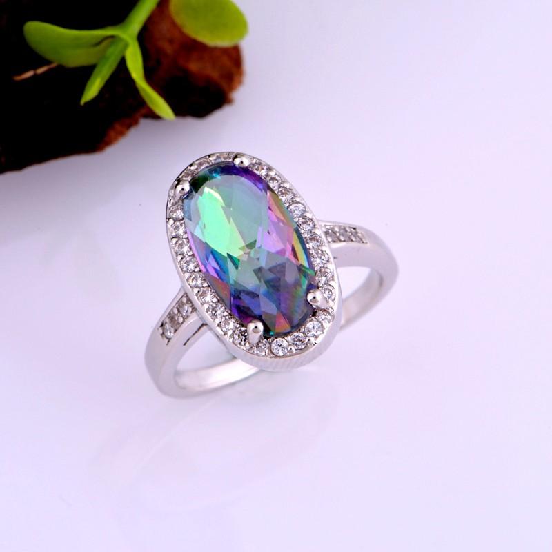 925 Silver Wedding Jewelry Set Rainbow Mystic Topaz CZ