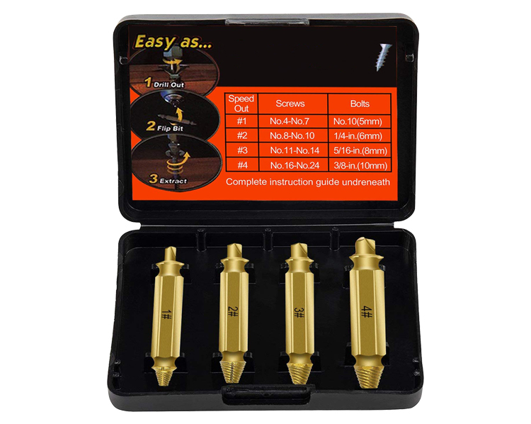 4Pcs TIN Coating HSS Damaged Broken Screw Remover and Extractor Set for Stud Screw Bolt Remove