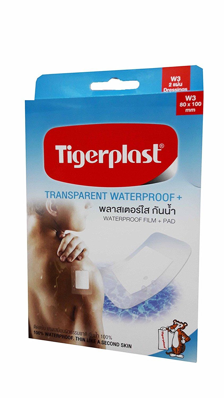 2 packs of Tigerplast Transparent Waterproof+. Waterproof Film + Pad, Transparent Film, Absorbent Pad, Non-stick Pad, 80 mm. x 100 mm. (2 dressings/pack)