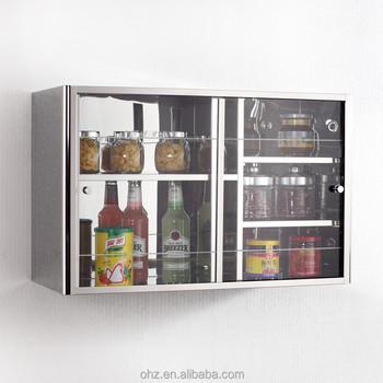 Fashionable Stainless Steel Kitchen Sliding Glass Door Mirror Display  Cabinet