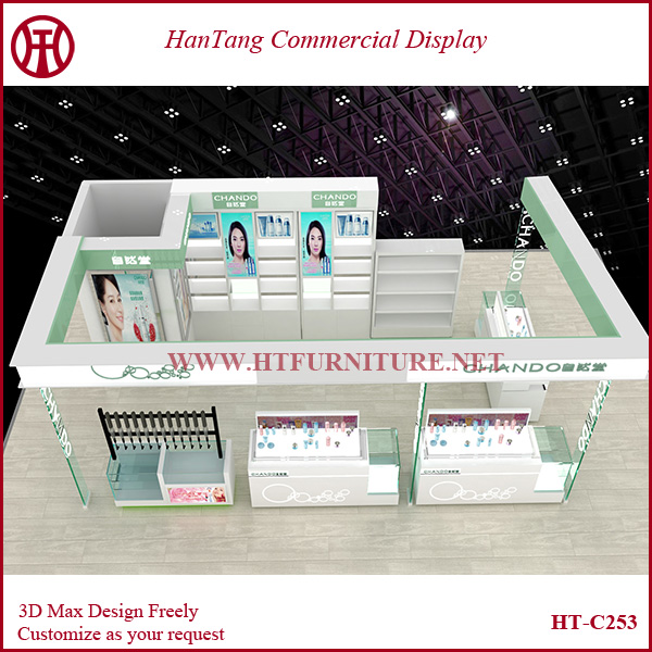 3D Max design & customize mdf cosmetic store showcase with baking paint/led light/light box/glass shelf showcase