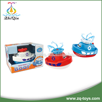 Battery operated baby bath toy boat can spout water