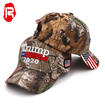 High Quality Stock RealTree Camo Trump Baseball Cap Custom America Flag Trump 2020 Camouflage Hat