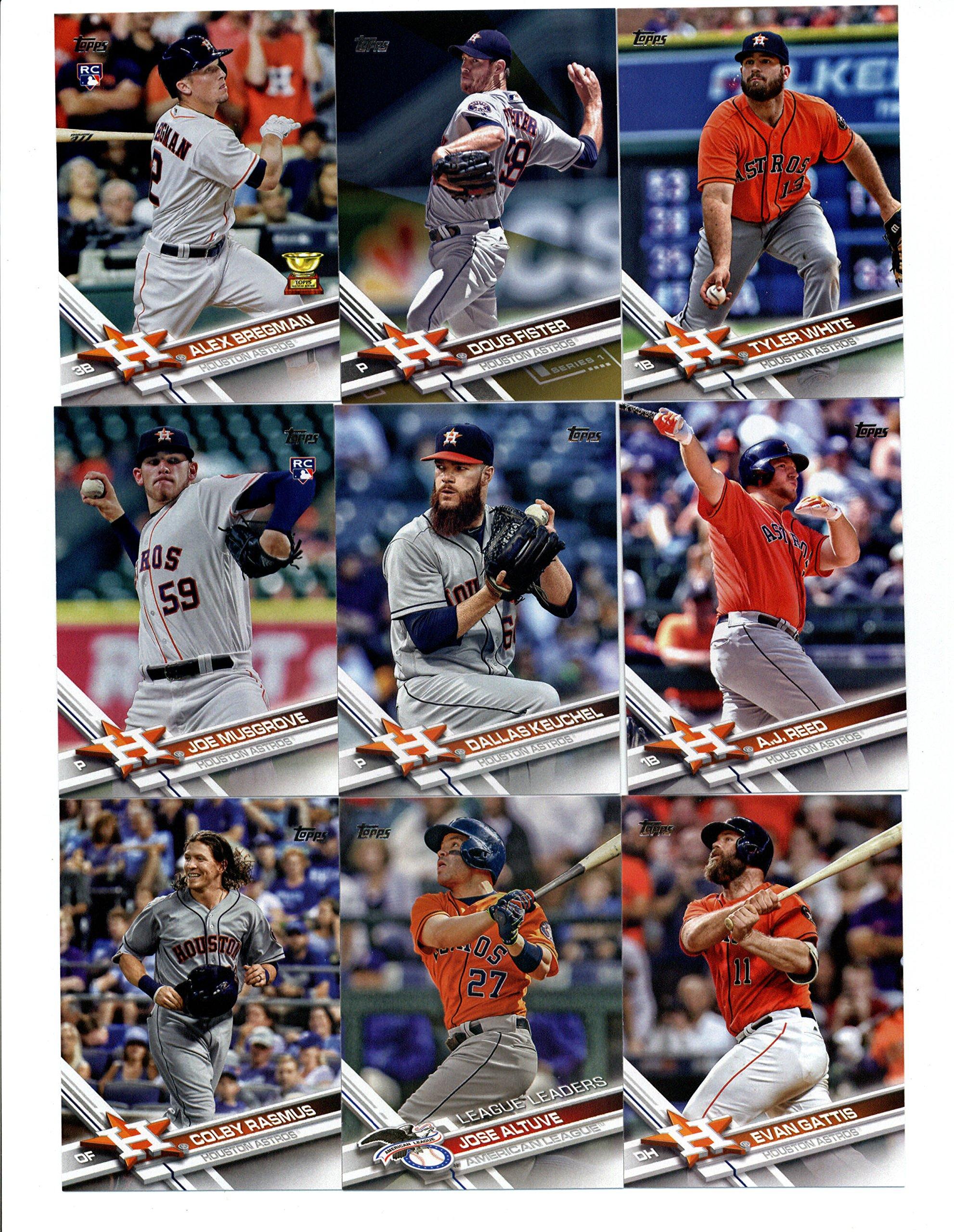 2017 Topps Series 1 Houston Astros Team Set of 15 Cards: Lance McCullers(#16), Teoscar Hernandez(#67), Carlos Correa(#75), Evan Gattis(#160), Houston Astros(#175), Colby Rasmus(#196), Jose Altuve(#214), Joe Musgrove(#219), Pat Neshek(#272), A.J. Reed(#273), Dallas Keuchel(#275), Tyler White(#285),