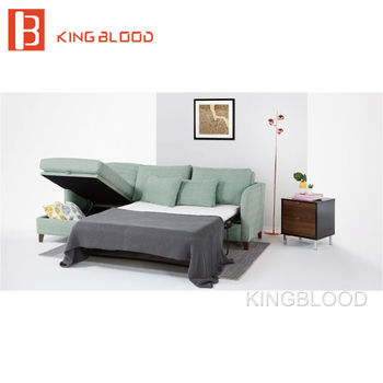 German Living Room Space Saving Furniture Pull Out L Shape Corner Sofa Bed