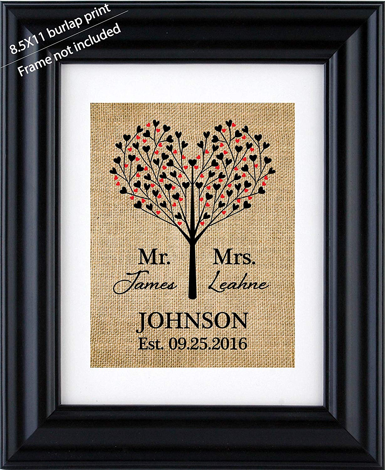 Mr. & Mrs. Personalized burlap art, Mr & Mrs Wedding sign, Heart Tree wedding shower decor with couple name, Handmade anniversary gift -Burlap print- 1Q (Frame not Included)