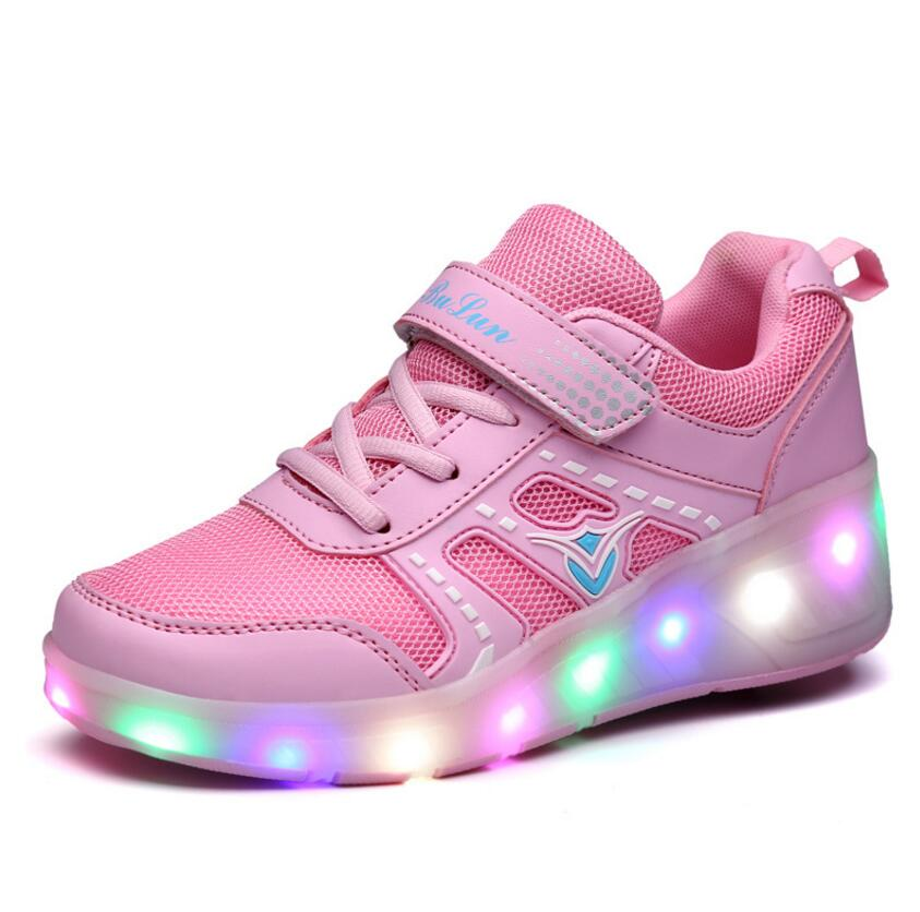 Top quality 2 wheels light up sole chargeable all styles kids led wheel roller shoes for kids
