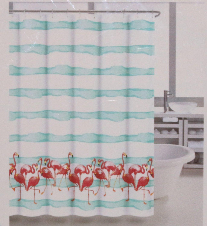 Coastal Collection Fabric Shower Curtain Frankie Flamingo Aqua Blue White Pink