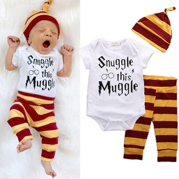 40c5d308e20db Wholesale Newborn Baby Romper Set Snuggle this Muggle Baby Boys Girls  Romper Pants Hat 3Pcs Outfit