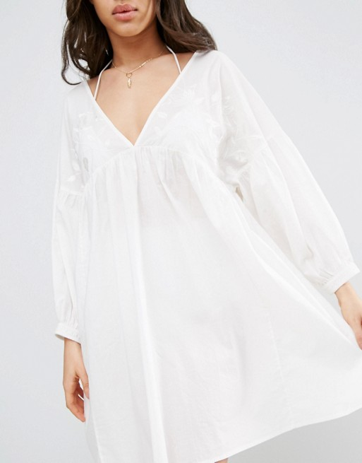 KY batwing sleeve latest design women custom embroidery long sleeve v neck back 100% cotton white beach cover up