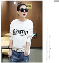 Autumn loose long-sleeved t-shirt female Korean Slim round neck casual shirt Printed Top