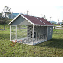 Large luxurious out door wooden dog house with run
