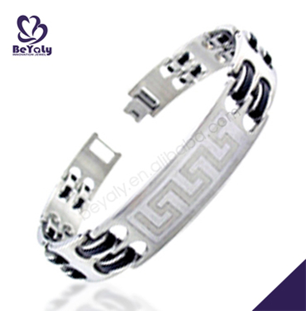 Custom stainless steel rubber link bodybuilding bracelet