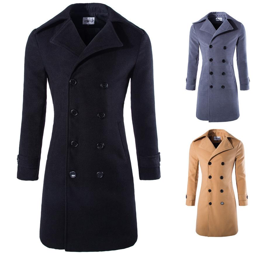 xiaohuoban Men Woolen Single Breasted Winter Jacket Pea Coats