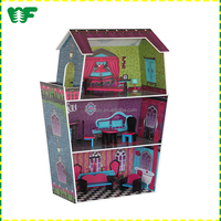 Multi-function funny educational wooden doll house for preschool