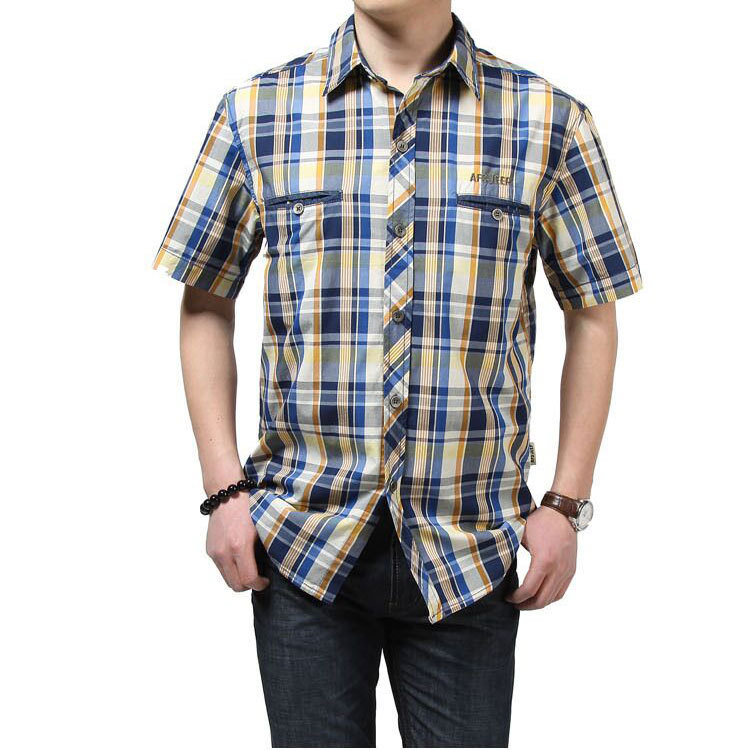 f2a1610ee38 Get Quotations · 2015 Mens Short Sleeve Dress Shirts Plaid Cargo Cotton  Slim Fit Burbry AFS JEEP Shirts Chemise