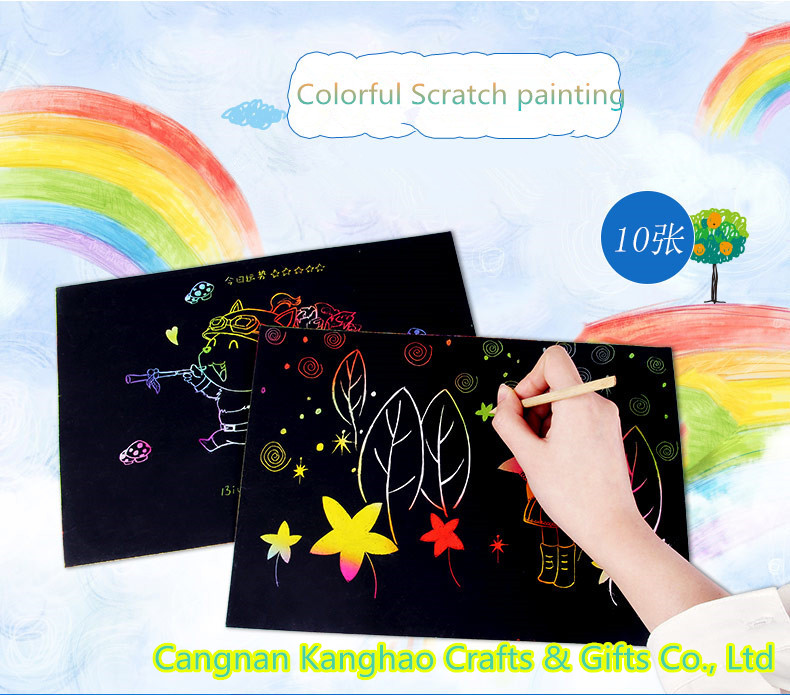 Handmade DIY scratch art paper for kids painting with custom cartoon design