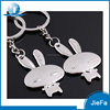 High quality promotional logo priting custom rabbit metal leather animal keychain