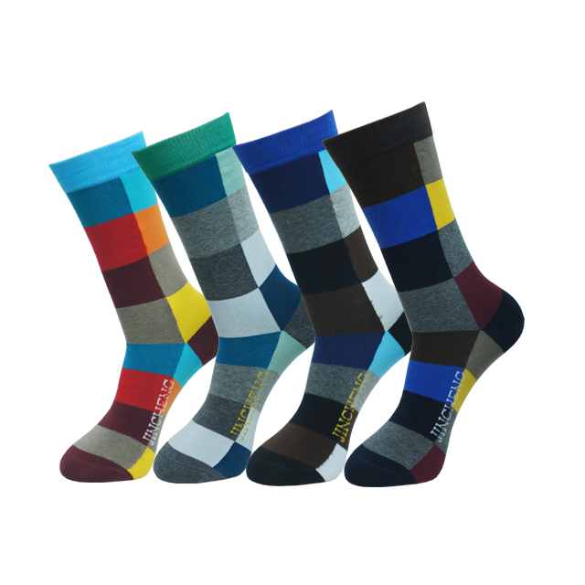 Fashion muti-colour cotton mid calf happy socks men socks dress custom logo dress socks