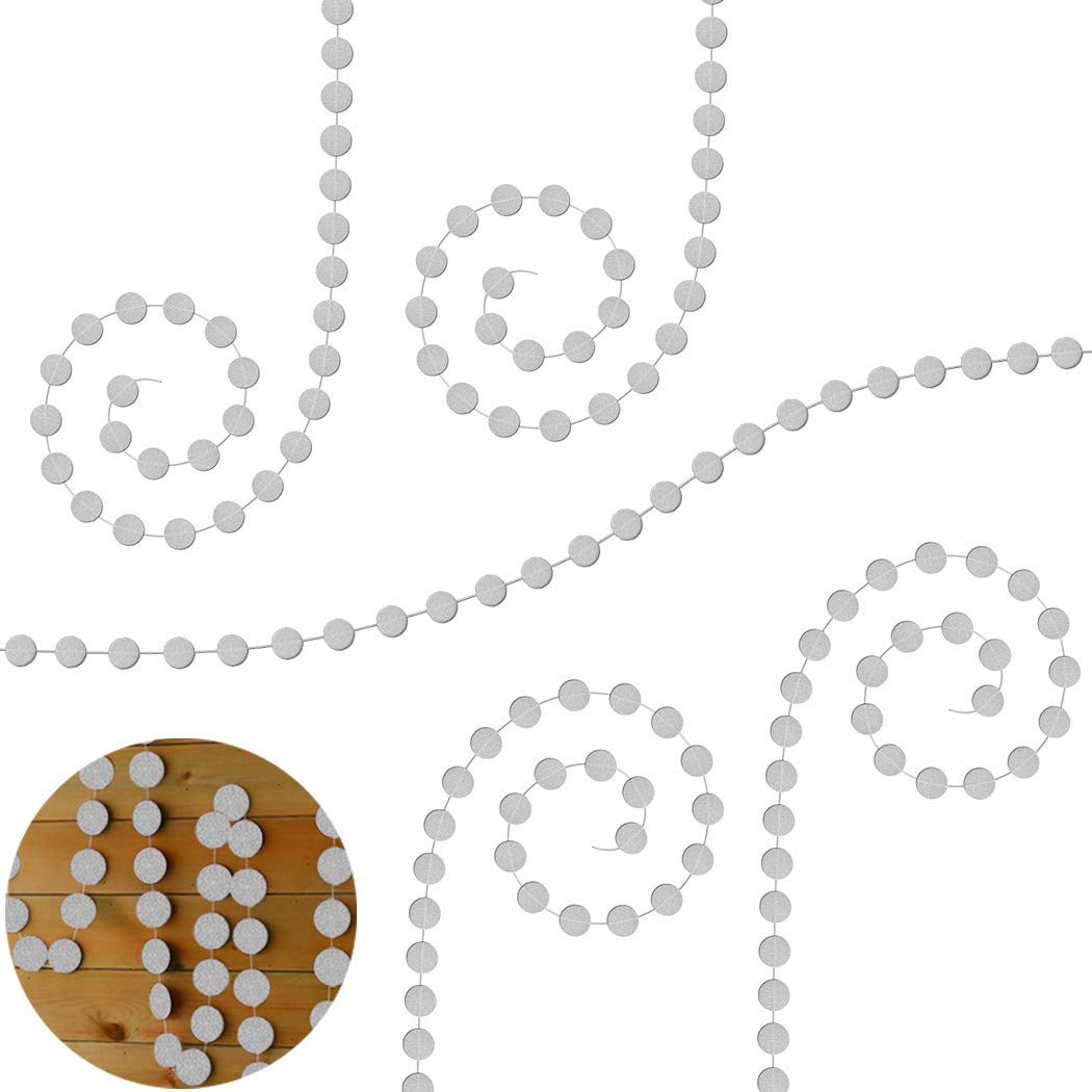 Creatiee Circle Dots Paper Garland, 5Pcs 65 Feet Glitter Paper Hanging Decor for Wedding, Bridal Showers, Birthday Party, Baby Shower, Event & Party Supplies, 2'' in Diameter (Silver)
