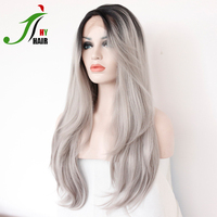 Free Shipping Long Heat Resistant Synthetic Wig Black Grey Color Ombre Lace Front Wig
