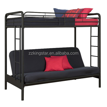 Whole Black Twin Over Futon Metal Folding Bunk Bed Childproof Mechanism Sofa