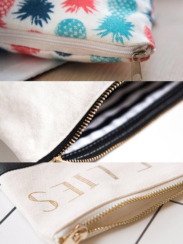 金箔金属ジッパーカスタマイズロゴプリント化粧ポーチ空白無地クリア基本プロモーション卸売キャンバス綿化粧品袋