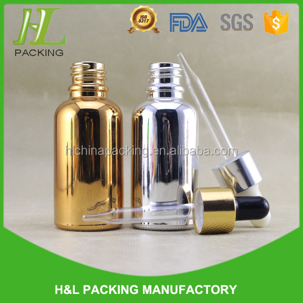 screw gold/silver cap 30ml glass aluminium bottles for essential oil
