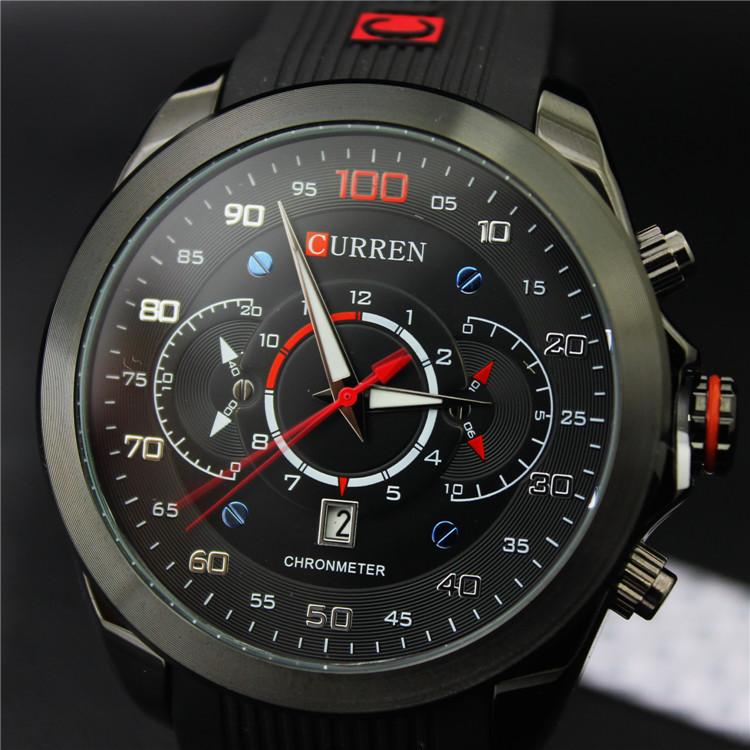 Новый известный CURREN марка резина мода кварцевые мужчин свободного покроя часы календарь дата работа 30 м водонепроницаемый наручные часы