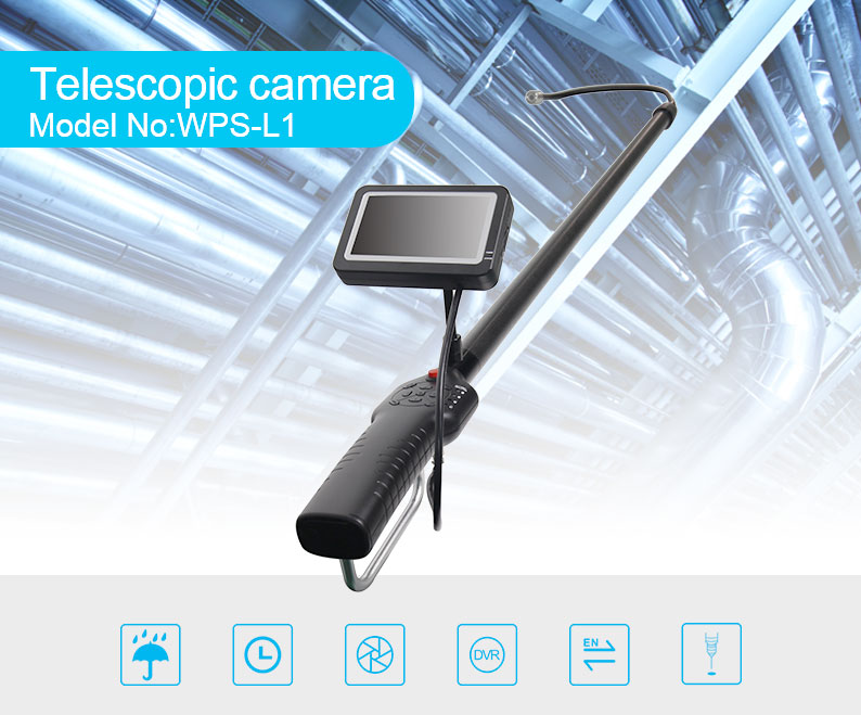 Latest DVR HD system video digital CCTV waterproof telescopic pole camera for under vehicle ceiling roof inspection CE FCC