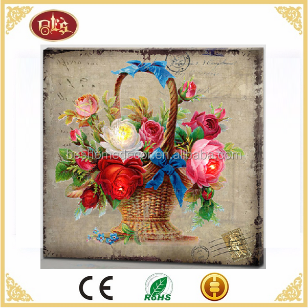 home decoration wholesales canvas with led light colorful flowers Vintage Wall Hangings Canvas