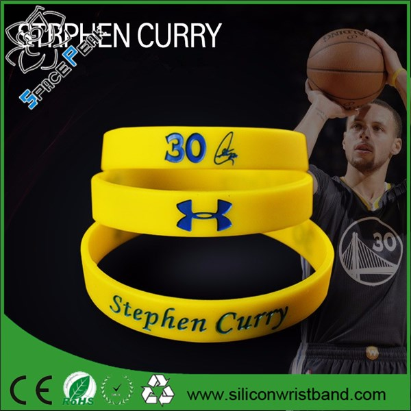 2016 customized Dual color Rubber wrist bands NBA Basketball silicone bracelet stephen curry bileklik
