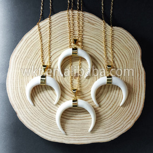 WT-N536 Hot sale handmade white buffalo horn necklace with gold bezel,  fashion bone horn necklace